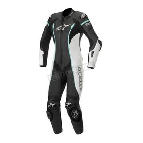 Black/White/Teal Stella Missile Leather Suit Tech-Air Compatible