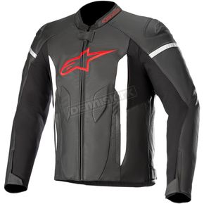 Black/Bright Red Faster Airflow Leather Jacket