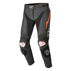 Black/Fluorescent Red Track v2 Leather Pants