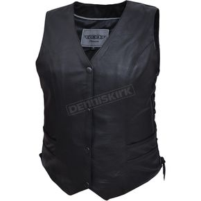 Women's Black Premium Cowhide Leather Traditional Conceal And Carry Vest - 2659.00XL