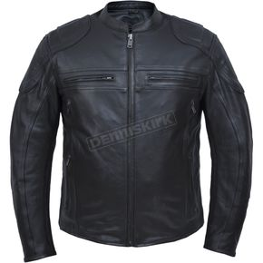 Men's Black Premium Cowhide Leather Conceal And Carry Jacket