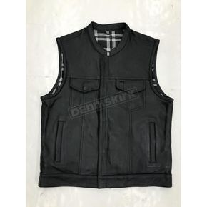 Men's Black Cowhide Leather Conceal And Carry Vest w/Black/White Flannel Liner