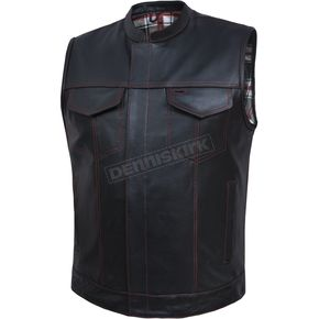 Men's Black Cowhide Leather Conceal And Carry Vest w/Red/Black/White Flannel Liner