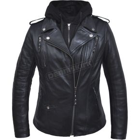 Women's Black Lambskin Conceal And Carry Jacket w/Removeable Hoodie