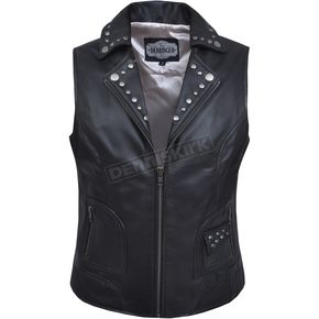 Women's Black Lambskin Vest w/Antique Silver Studs - 6876.00M