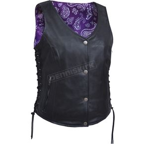 Women's Black Naked Goat Leather Conceal And Carry Vest w/Black/Purple Paisley Liner