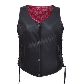 Women's Black Naked Goat Leather Conceal And Carry Vest w/Black/Pink Paisley Liner