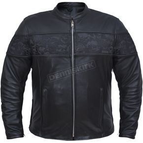 Men's Black Premium Cowhide Leather Reflective Skull Conceal And Carry Jacket