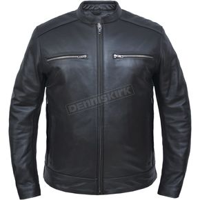 Men's Black Cowhide Leather Conceal And Carry Jacket