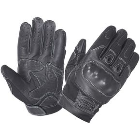 Men's Black Knuckle Armor Cowhide Leather Gloves - 8245.00L