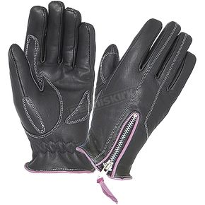 Women's Black Cowhide Leather Zip Gloves w/Purple Contrast Stitching