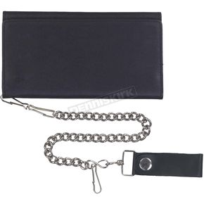 Black Cowhide Leather Biker Chain Wallet - 9059.00