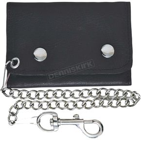 Black Cowhide Leather Easy Clip-On Biker Chain Wallet - 9082.00