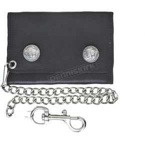 BlackTri-Fold Cowhide Leather Buffalo Snaps Biker Chain Wallet - 9084.00