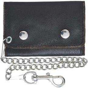 Black Cowhide Leather Easy Clip-On Biker Chain Wallet - 9085.00