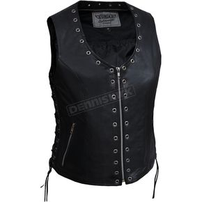 Women's Black Premium Goatskin Zippered Eyelet Vest - 2682.NGL