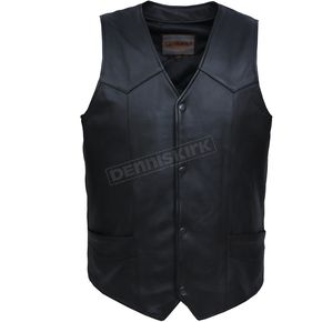 Men's Black Premium Cowhide Leather Conceal And Carry Vest - 602.LCXL