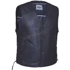Men's Black Premium Naked Cowhide Leather Conceal And Carry Vest