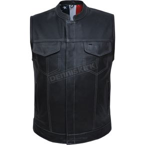 Men's Black Cowhide Leather Conceal And Carry Vest w/USA Flag Liner