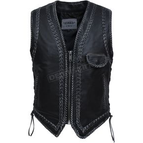 Men's Black Cowhide Leather Distressed Gray Braided Conceal And Carry Western Vest