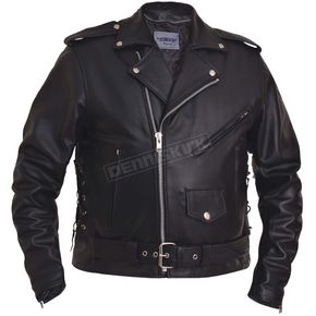 Men's Black Premium Buffalo Leather Traditonal Conceal And Carry Jacket