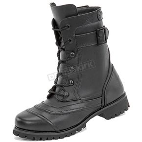 Women's Black Lady Combat Leather Boots