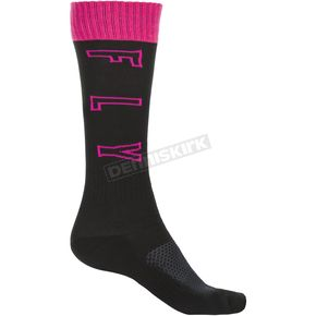Youth Black/Pink/Gray Thick MX Socks - 350-0517Y