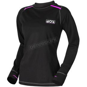 Women's Black/Electric Pink Vapour Merino Longsleeve
