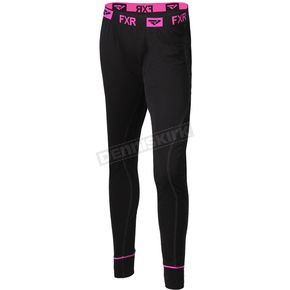 Womens Black/Electric Pink Vapour Merino Pants