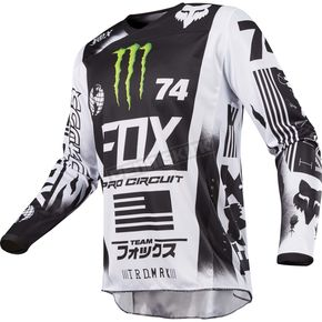 Fox White/Black/Green 180 Monster/Pro Circuit SE Jersey - 20025-129-XL