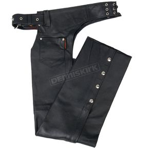 Unisex Black Leather Chaps