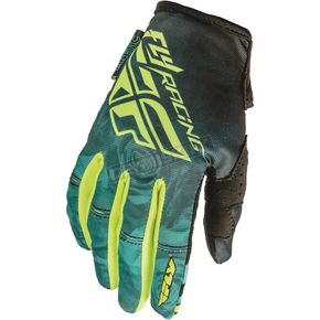 Fly Racing Women's Teal/Hi-Vis Yellow Kinetic Gloves - 369-61809