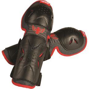 Fly Racing Youth Black/Red Flex II Knee Guards - 28-3069