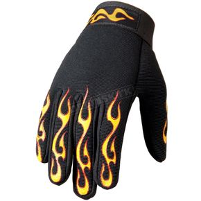 Hot Leathers Yellow & Red Flame Mechanics Gloves - GVM2004XXL