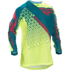 Fly Racing Hi-Vis Yellow/Teal Kinetic Mesh Trifecta Jersey - 370-328L