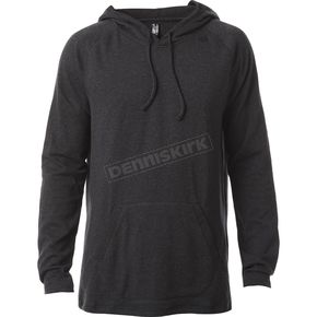 Fox Heather Black Pitted Hooded Long Sleeve Shirt - 18339-243-L