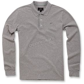 Alpinestars Gray Melange Cafe Long Sleeve Polo Shirt - 103641000-150XL