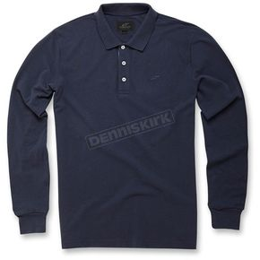 Alpinestars Navy Cafe Long Sleeve Polo Shirt - 103641000-702X