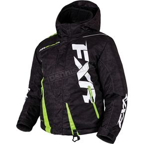 FXR Racing Child's Black Digi/Lime Boost Jacket - 170410-1170-02
