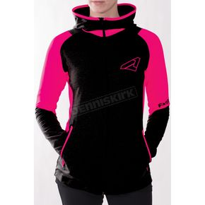 FXR Racing Women's Black/Fuchsia Clash Active Zip Hoody - 171003-1090-07