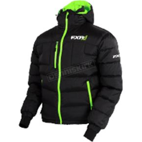 FXR Racing Black/Lime Elevation Down Jacket - 170030-1070-16