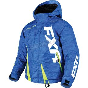 FXR Racing Child's Blue Digi/Hi-Vis Boost Jacket - 170410-4165-08