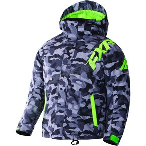 FXR Racing Youth Gray Urban Camo/Lime Squadron Jacket - 170400-0670-10