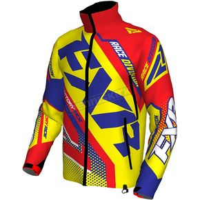 FXR Racing Hi-Vis/Nuke Red/Royal Blue Cold Cross Race Ready Jacket - 170029-6523-13