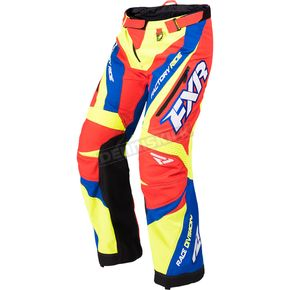 FXR Racing Hi-Vis/Nuke Red/Royal Blue Cold Cross Race Ready Pants - 170113-6523-19