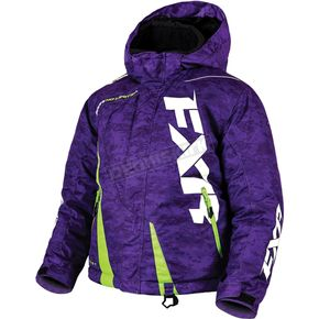 FXR Racing Child's Purple Digi/Lime Boost Jacket - 170410-8170-04