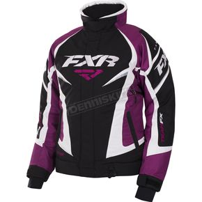 FXR Racing Women's Black/Wineberry/White Tri Team Jacket - 170208-1085-18