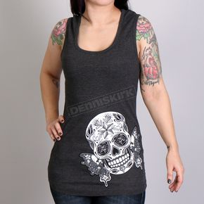 Hot Leathers Women's Heather Charcoal Butterfly Sugar Skull Tank Top - GLR2388XXL