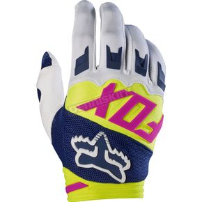 Fox Navy/White Dirtpaw Race Gloves - 17291-045-XL