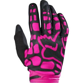 Fox Youth Girls Black/Pink Dirtpaw Gloves - 17298-285-M